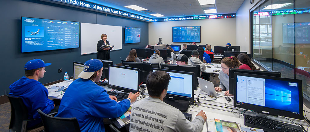 Students participating in class in the ticker room.